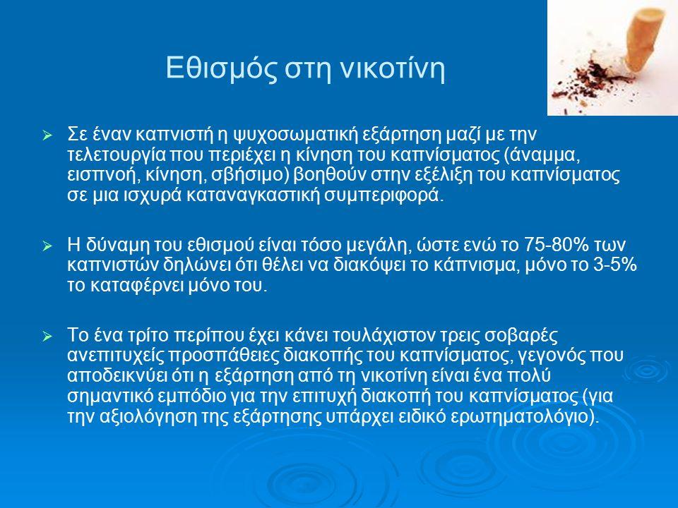 Εθισμός στη νικοτίνη   Σε έναν καπνιστή η ψυχοσωματική εξάρτηση μαζί με την τελετουργία που περιέχει η κίνηση του καπνίσματος (άναμμα, εισπνοή, κίνη