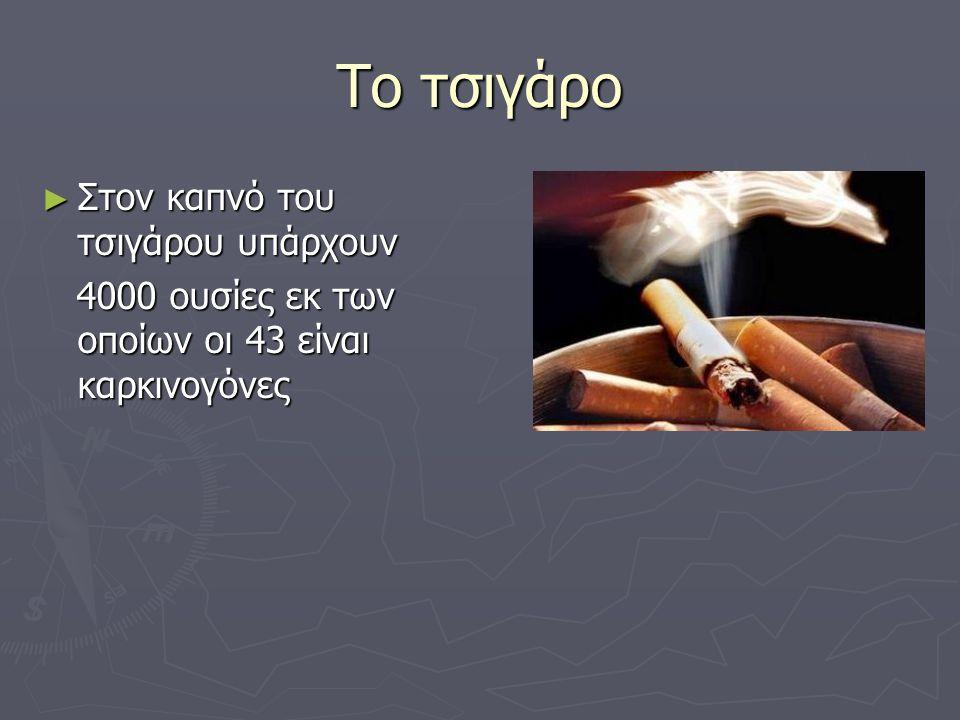 Το τσιγάρο ► Στον καπνό του τσιγάρου υπάρχουν 4000 ουσίες εκ των οποίων οι 43 είναι καρκινογόνες 4000 ουσίες εκ των οποίων οι 43 είναι καρκινογόνες