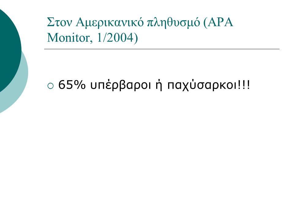 Στον Αμερικανικό πληθυσμό (APA Monitor, 1/2004)  65% υπέρβαροι ή παχύσαρκοι!!!