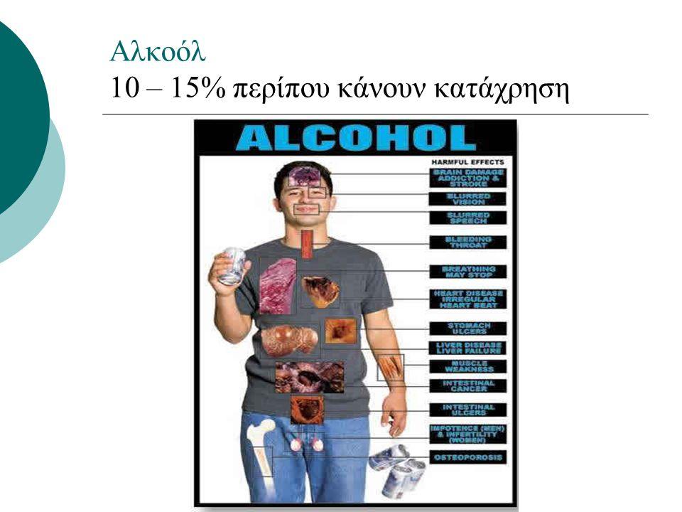 Αλκοόλ 10 – 15% περίπου κάνουν κατάχρηση