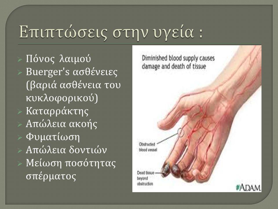  Πόνος λαιμού  Buerger s ασθένειες ( βαριά ασθένεια του κυκλοφορικού )  Καταρράκτης  Απώλεια ακοής  Φυματίωση  Απώλεια δοντιών  Μείωση ποσότητας σπέρματος
