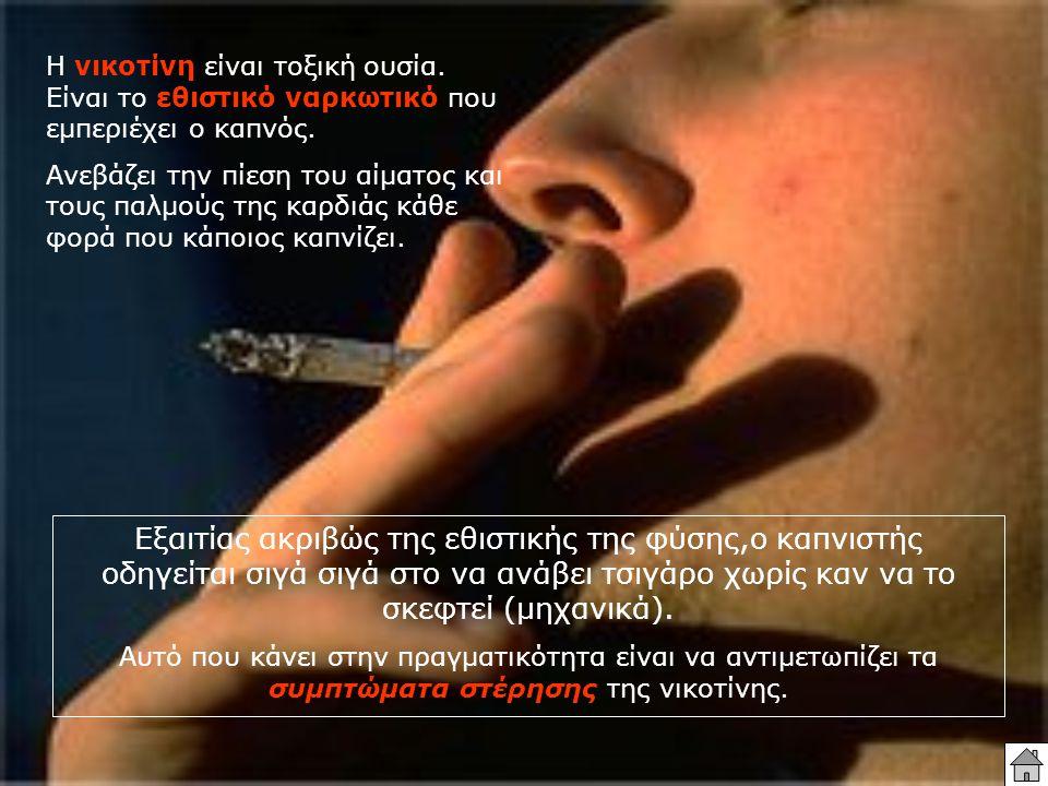Η νικοτίνη είναι τοξική ουσία. Είναι το εθιστικό ναρκωτικό που εμπεριέχει ο καπνός. Ανεβάζει την πίεση του αίματος και τους παλμούς της καρδιάς κάθε φ