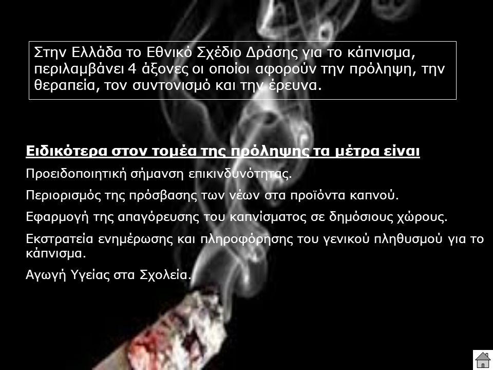 Στην Ελλάδα το Εθνικό Σχέδιο Δράσης για το κάπνισμα, περιλαμβάνει 4 άξονες οι οποίοι αφορούν την πρόληψη, την θεραπεία, τον συντονισμό και την έρευνα.