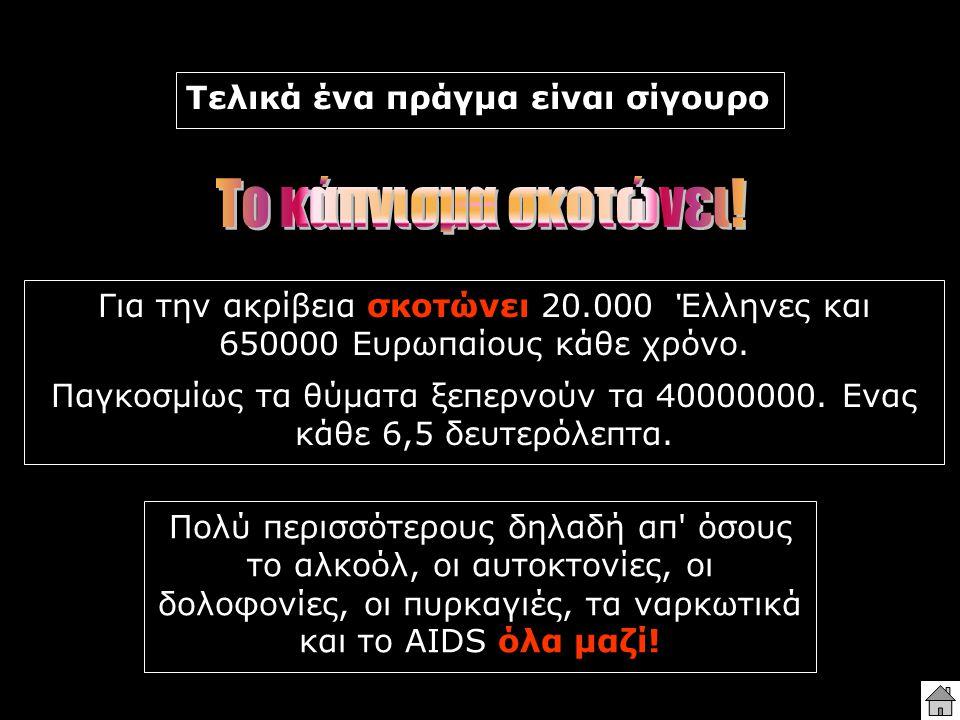 Για την ακρίβεια σκοτώνει 20.000 Έλληνες και 650000 Ευρωπαίους κάθε χρόνο. Παγκοσμίως τα θύματα ξεπερνούν τα 40000000. Ενας κάθε 6,5 δευτερόλεπτα. Πολ