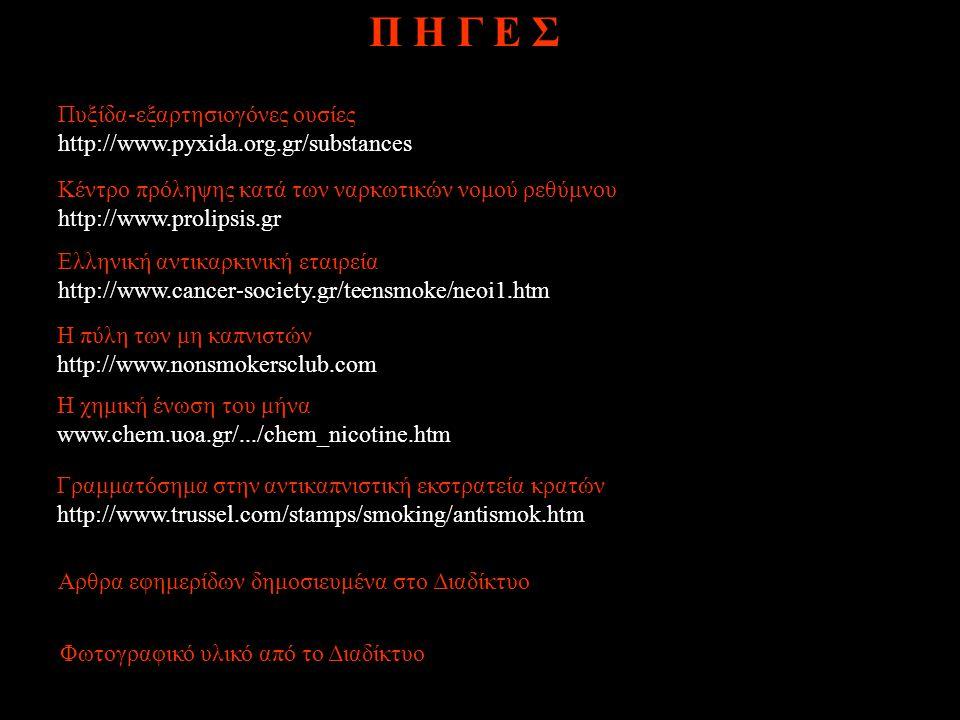 Πυξίδα-εξαρτησιογόνες ουσίες http://www.pyxida.org.gr/substances Κέντρο πρόληψης κατά των ναρκωτικών νομού ρεθύμνου http://www.prolipsis.gr Eλληνική α