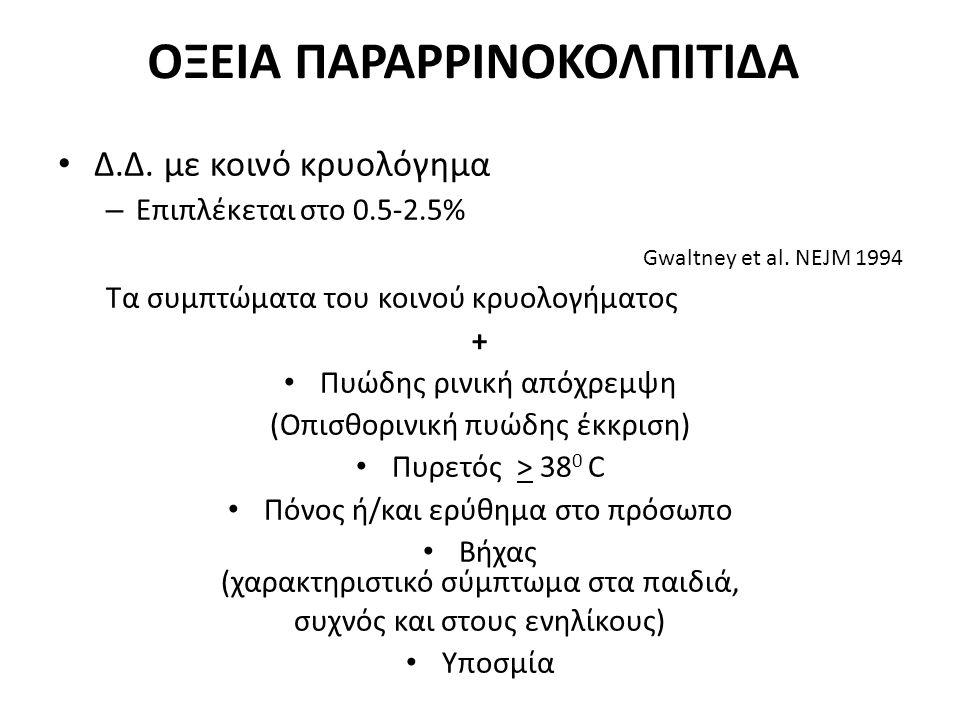 ΟΞΕΙΑ ΠΑΡΑΡΡΙΝΟΚΟΛΠΙΤΙΔΑ Δ.Δ. με κοινό κρυολόγημα – Επιπλέκεται στο 0.5-2.5% Gwaltney et al. NEJM 1994 Τα συμπτώματα του κοινού κρυολογήματος + Πυώδης