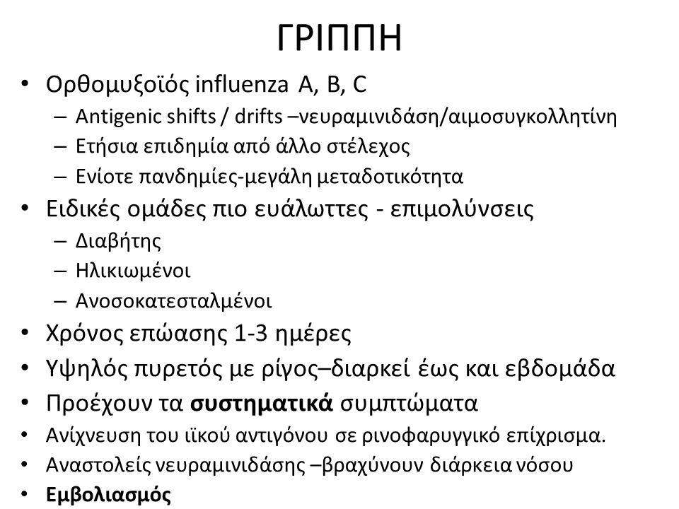 ΓΡΙΠΠΗ Ορθομυξοϊός influenza A, B, C – Antigenic shifts / drifts –νευραμινιδάση/αιμοσυγκολλητίνη – Ετήσια επιδημία από άλλο στέλεχος – Ενίοτε πανδημίε