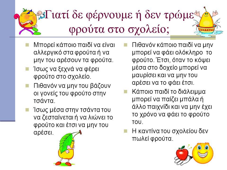 Γιατί δε φέρνουμε ή δεν τρώμε φρούτα στο σχολείο; Μπορεί κάποιο παιδί να είναι αλλεργικό στα φρούτα ή να μην του αρέσουν τα φρούτα. Ίσως να ξεχνά να φ