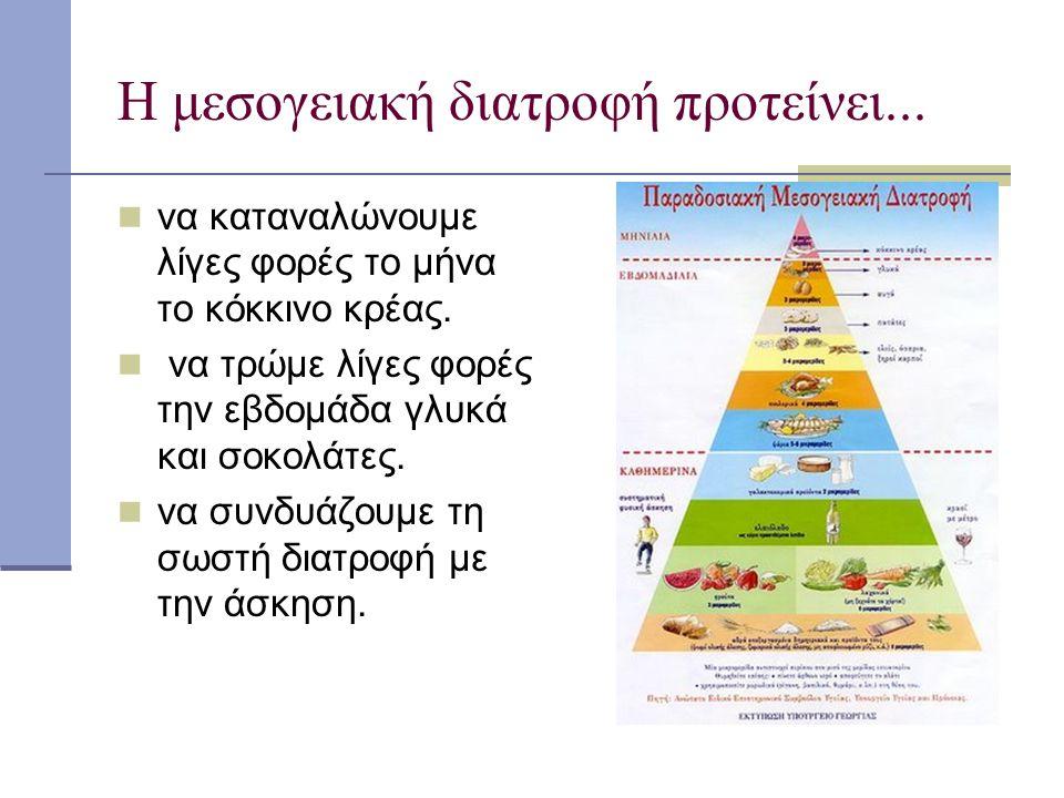 Η μεσογειακή διατροφή προτείνει... να καταναλώνουμε λίγες φορές το μήνα το κόκκινο κρέας. να τρώμε λίγες φορές την εβδομάδα γλυκά και σοκολάτες. να συ