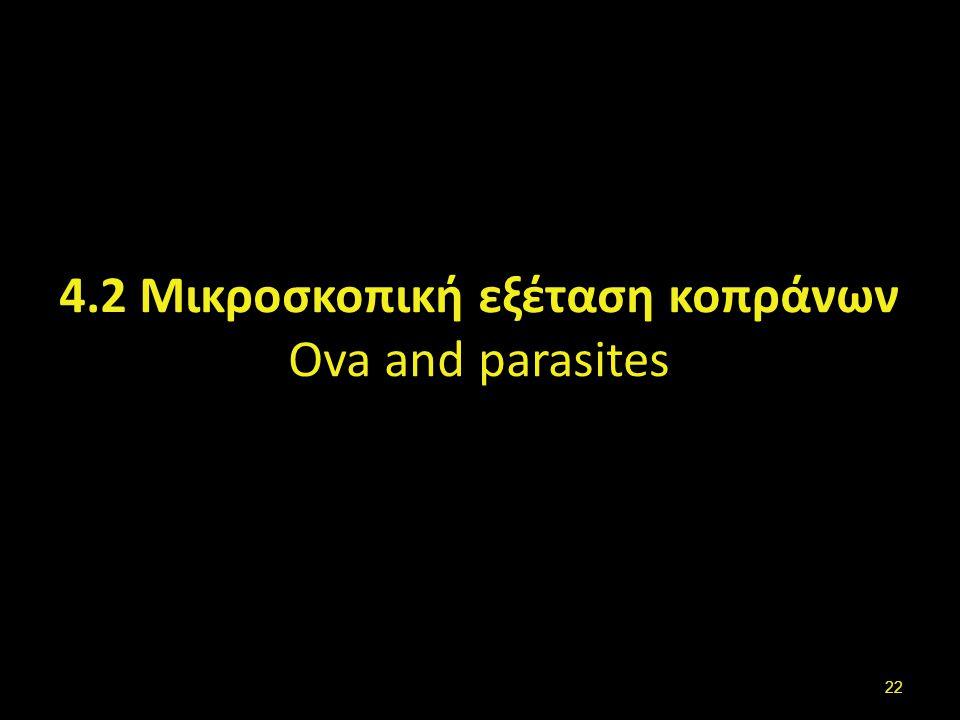 4.2 Μικροσκοπική εξέταση κοπράνων Ova and parasites 22