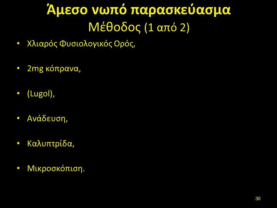 Άμεσο νωπό παρασκεύασμα Μέθοδος (1 από 2) Xλιαρός Φυσιολογικός Ορός, 2mg κόπρανα, (Lugol), Ανάδευση, Καλυπτρίδα, Μικροσκόπιση. 30