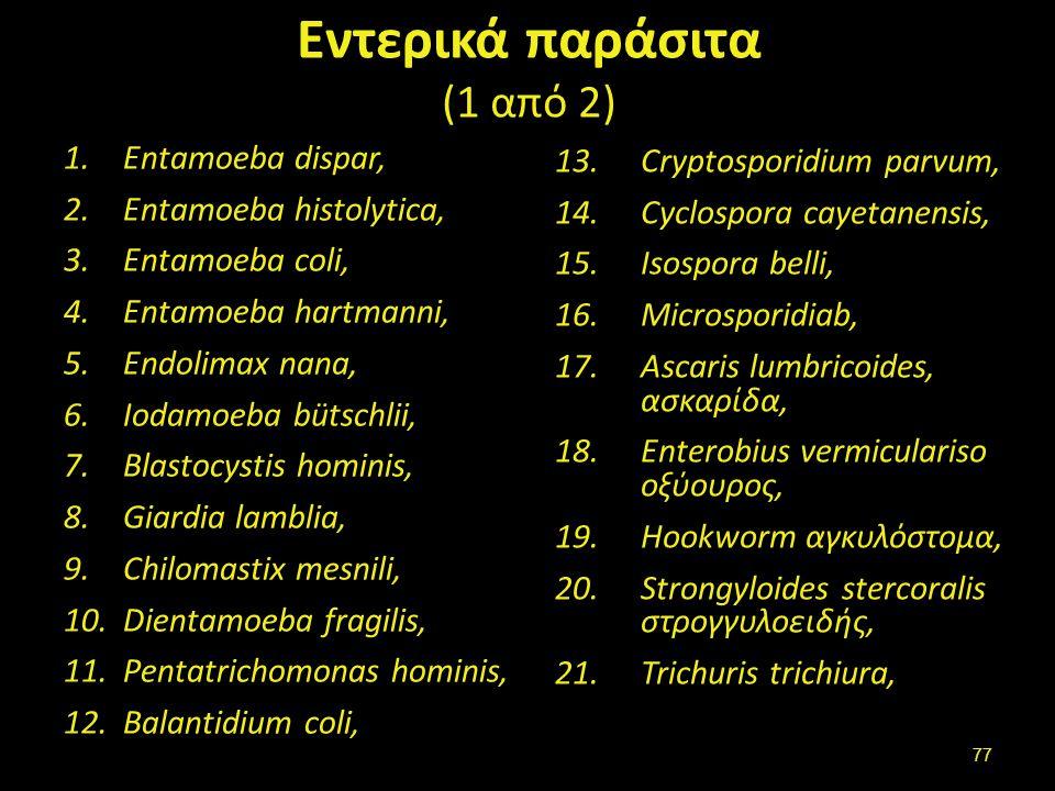 Εντερικά παράσιτα (1 από 2) 1.Entamoeba dispar, 2.Entamoeba histolytica, 3.Entamoeba coli, 4.Entamoeba hartmanni, 5.Endolimax nana, 6.Iodamoeba bütsch