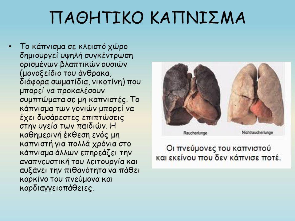 ΠΑΘΗΤΙΚΟ ΚΑΠΝΙΣΜΑ Το κάπνισμα σε κλειστό χώρο δημιουργεί υψηλή συγκέντρωση ορισμένων βλαπτικών ουσιών (μονοξείδιο του άνθρακα, διάφορα σωματίδια, νικοτίνη) που μπορεί να προκαλέσουν συμπτώματα σε μη καπνιστές.