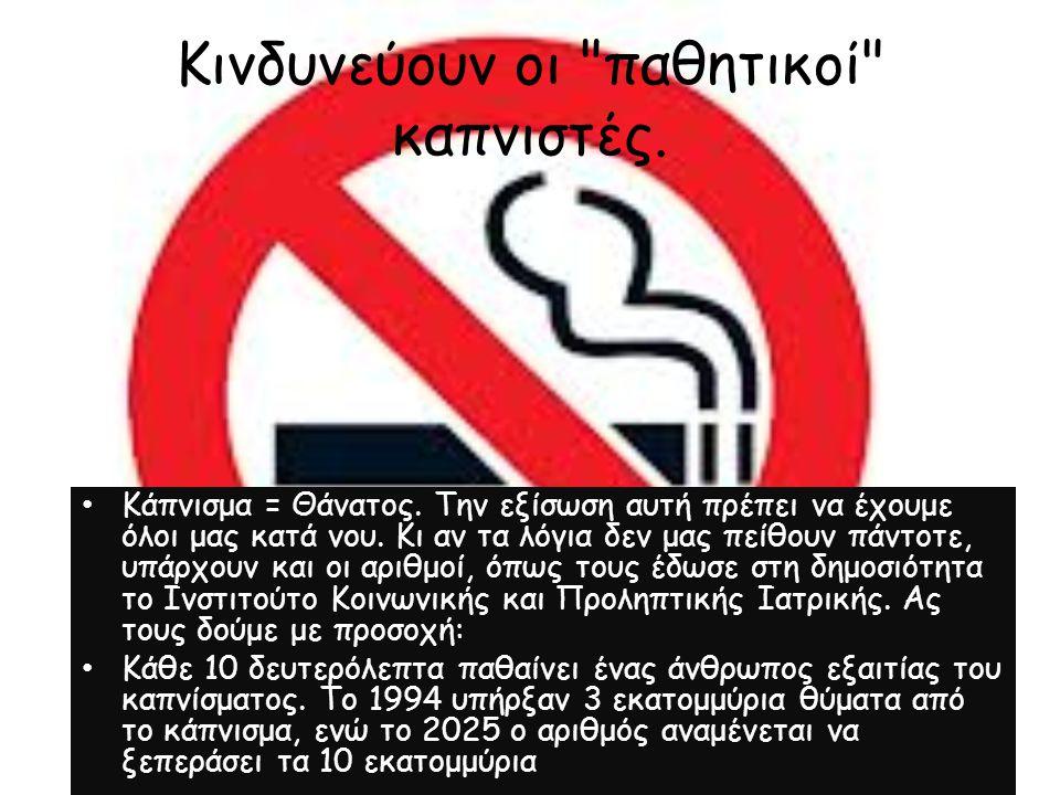 Κινδυνεύουν οι παθητικοί καπνιστές.Κάπνισμα = Θάνατος.