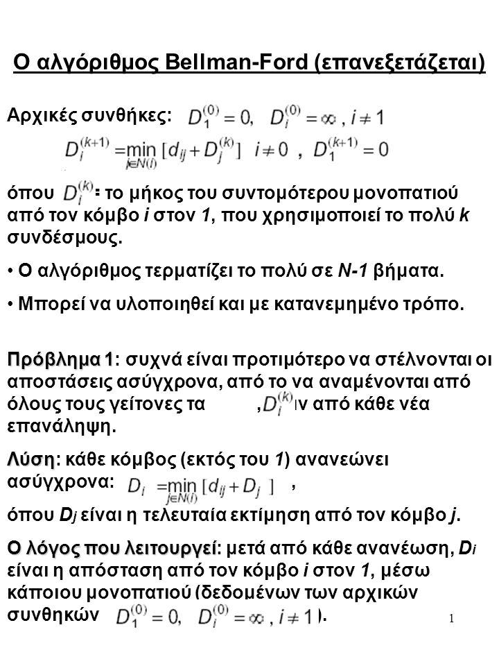 1 Ο αλγόριθμος Bellman-Ford (επανεξετάζεται) Αρχικές συνθήκες: όπου = το μήκος του συντομότερου μονοπατιού από τον κόμβο i στον 1, που χρησιμοποιεί το