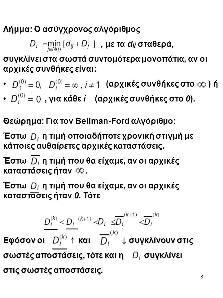 3 Λήμμα Λήμμα: Ο ασύγχρονος αλγόριθμος, με τα d ij σταθερά, συγκλίνει στα σωστά συντομότερα μονοπάτια, αν οι αρχικές συνθήκες είναι: (αρχικές συνθήκες