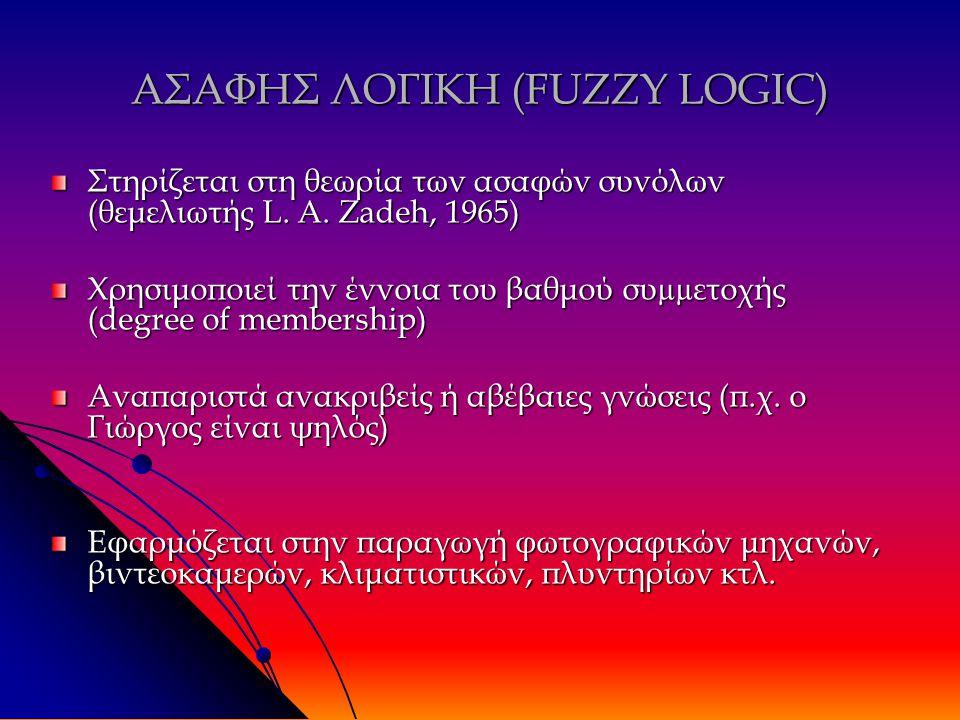 ΑΣΑΦΗΣ ΛΟΓΙΚΗ (FUZZY LOGIC) Στηρίζεται στη θεωρία των ασαφών συνόλων (θεμελιωτής L.