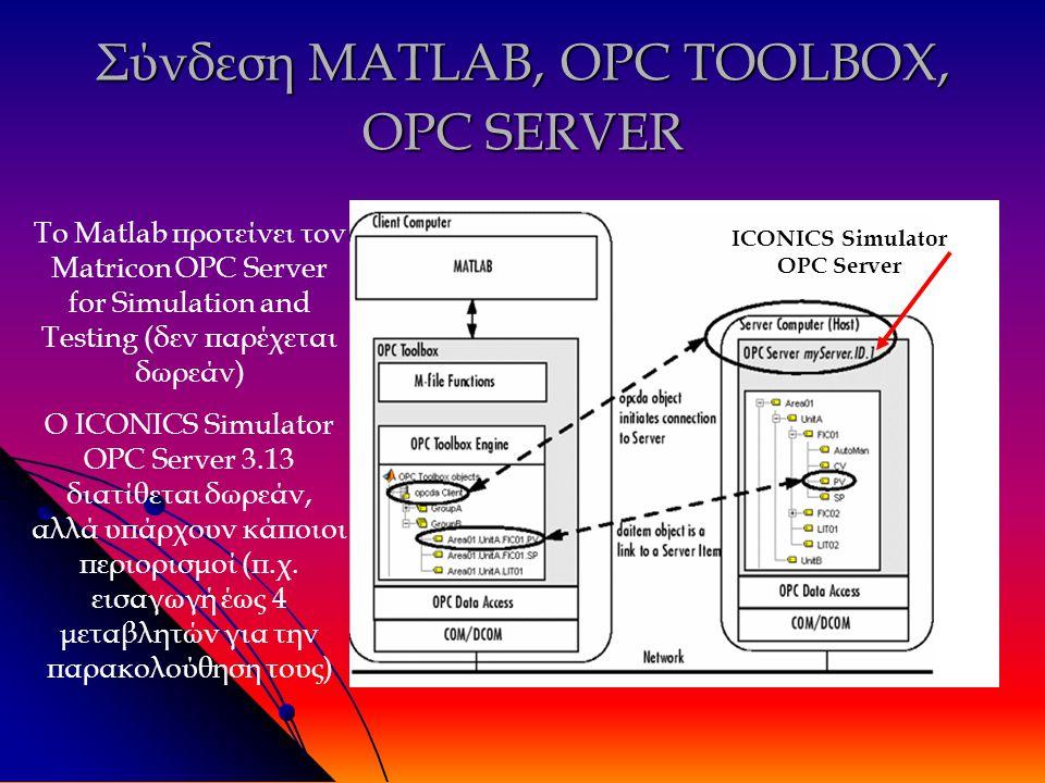 Σύνδεση MATLAB, OPC TOOLBOX, OPC SERVER ICONICS Simulator OPC Server Το Matlab προτείνει τον Matricon OPC Server for Simulation and Testing (δεν παρέχεται δωρεάν) Ο ICONICS Simulator OPC Server 3.13 διατίθεται δωρεάν, αλλά υπάρχουν κάποιοι περιορισμοί (π.χ.