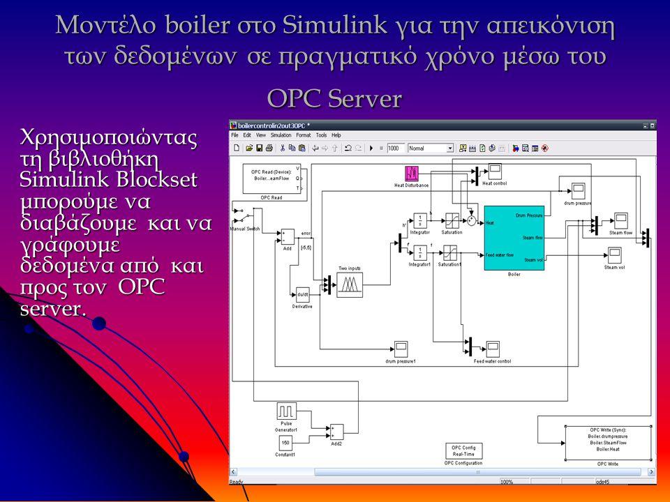 Μοντέλο boiler στο Simulink για την απεικόνιση των δεδομένων σε πραγματικό χρόνο μέσω του OPC Server Χρησιμοποιώντας τη βιβλιοθήκη Simulink Blockset μπορούμε να διαβάζουμε και να γράφουμε δεδομένα από και προς τον OPC server.