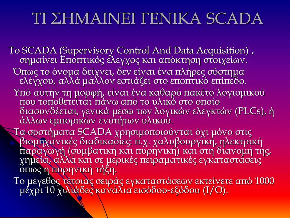 ΤΙ ΣΗΜΑΙΝΕΙ ΓΕΝΙΚΑ SCADA Το SCADA (Supervisory Control And Data Acquisition), σημαίνει Εποπτικός έλεγχος και απόκτηση στοιχείων.