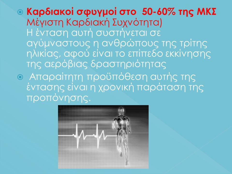  Καρδιακοί σφυγμοί στο 50-60% της ΜΚΣ Μέγιστη Καρδιακή Συχνότητα) Η ένταση αυτή συστήνεται σε αγύμναστους η ανθρώπους της τρίτης ηλικίας, αφού είναι το επίπεδο εκκίνησης της αερόβιας δραστηριότητας  Απαραίτητη προϋπόθεση αυτής της έντασης είναι η χρονική παράταση της προπόνησης.
