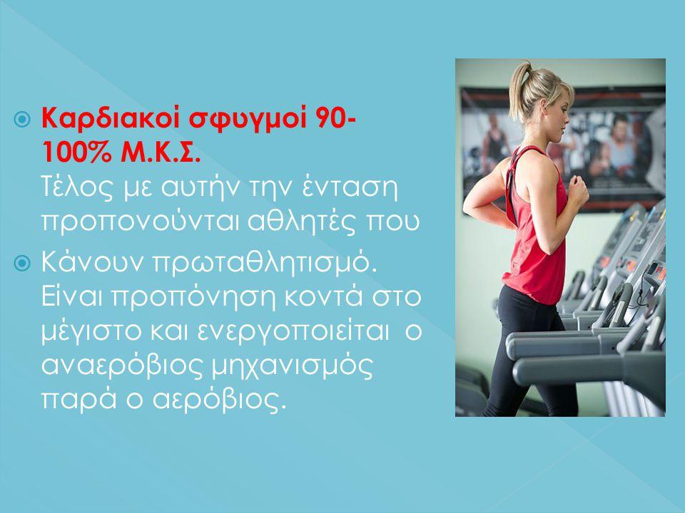  Καρδιακοί σφυγμοί 90- 100% Μ.Κ.Σ.