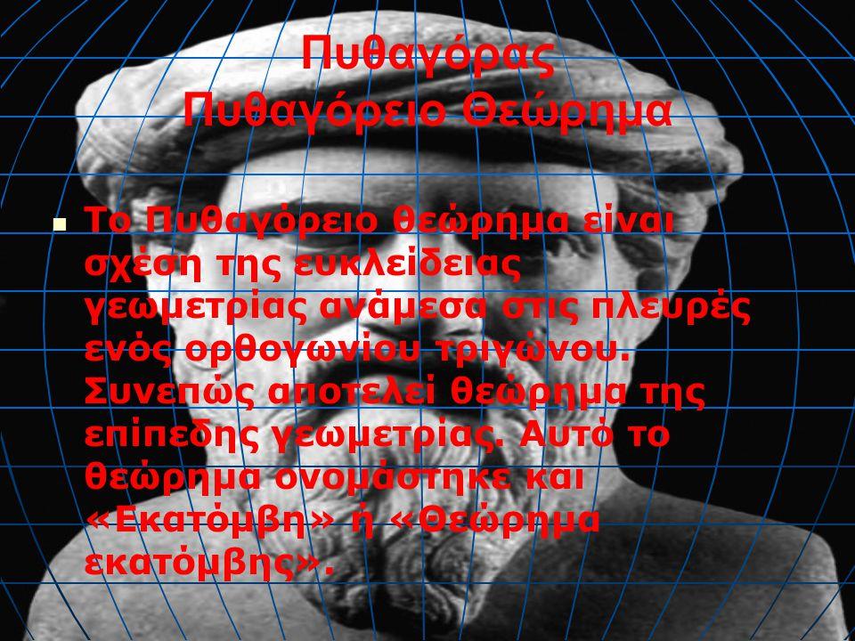 Πυθαγόρας Πυθαγόρειο Θεώρημα Ισχύει και το αντίστροφο Πυθαγόρειο Θεώρημα: ότι δηλαδή, αν ισχύει η σχέση α 2 = β 2 + γ 2.