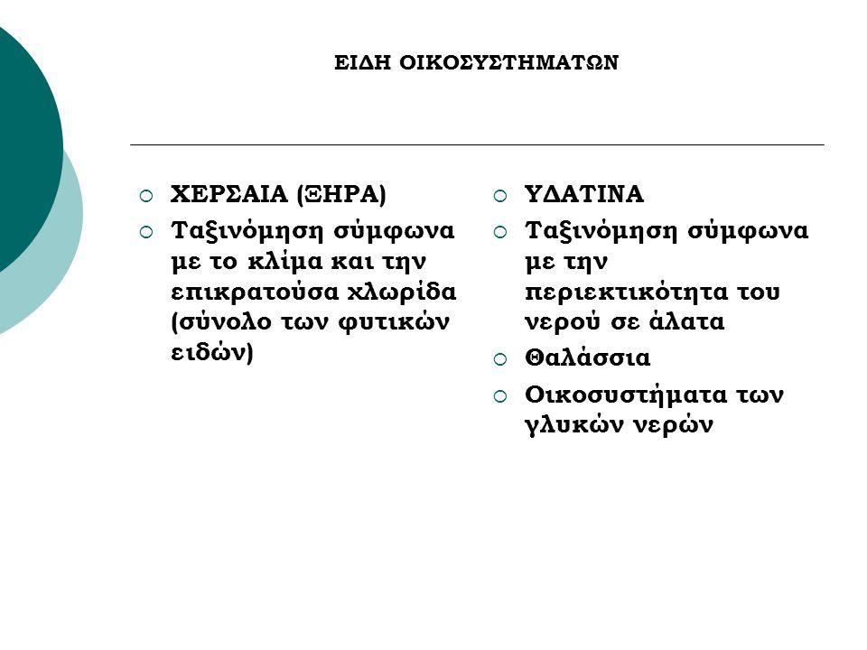 ΕΙΔΗ ΟΙΚΟΣΥΣΤΗΜΑΤΩΝ  ΧΕΡΣΑΙΑ (ΞΗΡΑ)  Ταξινόμηση σύμφωνα με το κλίμα και την επικρατούσα χλωρίδα (σύνολο των φυτικών ειδών)  ΥΔΑΤΙΝΑ  Ταξινόμηση σύμφωνα με την περιεκτικότητα του νερού σε άλατα  Θαλάσσια  Οικοσυστήματα των γλυκών νερών