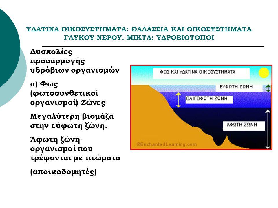 ΥΔΑΤΙΝΑ ΟΙΚΟΣΥΣΤΗΜΑΤΑ: ΘΑΛΑΣΣΙΑ ΚΑΙ ΟΙΚΟΣΥΣΤΗΜΑΤΑ ΓΛΥΚΟΥ ΝΕΡΟΥ. ΜΙΚΤΑ: ΥΔΡΟΒΙΟΤΟΠΟΙ Δυσκολίες προσαρμογής υδρόβιων οργανισμών α) Φως (φωτοσυνθετικοί ο