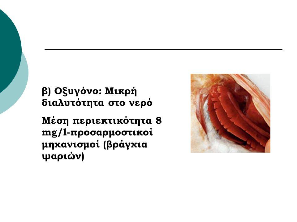 β) Οξυγόνο: Μικρή διαλυτότητα στο νερό Μέση περιεκτικότητα 8 mg/l-προσαρμοστικοί μηχανισμοί (βράγχια ψαριών)