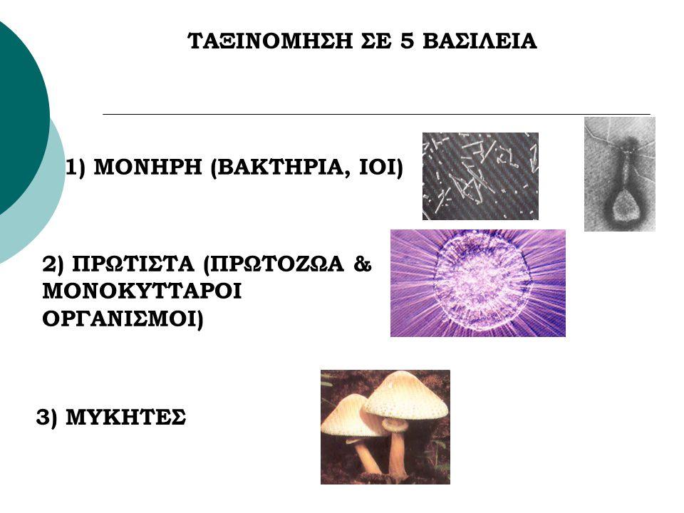 ΤΑΞΙΝΟΜΗΣΗ ΣΕ 5 ΒΑΣΙΛΕΙΑ 1) ΜΟΝΗΡΗ (ΒΑΚΤΗΡΙΑ, ΙΟΙ) 2) ΠΡΩΤΙΣΤΑ (ΠΡΩΤΟΖΩΑ & ΜΟΝΟΚΥΤΤΑΡΟΙ ΟΡΓΑΝΙΣΜΟΙ) 3) ΜΥΚΗΤΕΣ