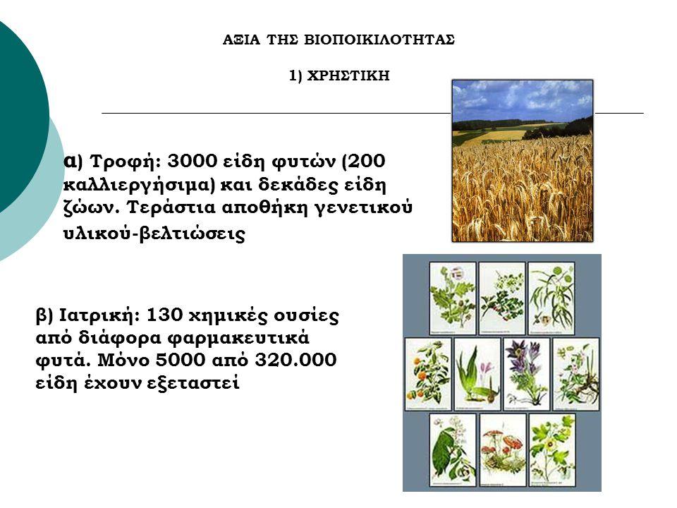 ΑΞΙΑ ΤΗΣ ΒΙΟΠΟΙΚΙΛΟΤΗΤΑΣ 1) ΧΡΗΣΤΙΚΗ α ) Τροφή: 3000 είδη φυτών (200 καλλιεργήσιμα) και δεκάδες είδη ζώων. Τεράστια αποθήκη γενετικού υλικού-βελτιώσει