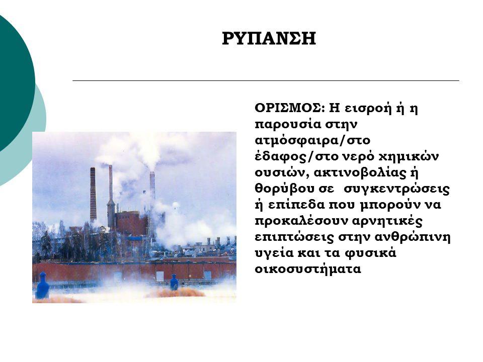 ΡΥΠΑΝΣΗ ΟΡΙΣΜΟΣ: Η εισροή ή η παρουσία στην ατμόσφαιρα/στο έδαφος/στο νερό χημικών ουσιών, ακτινοβολίας ή θορύβου σε συγκεντρώσεις ή επίπεδα που μπορο