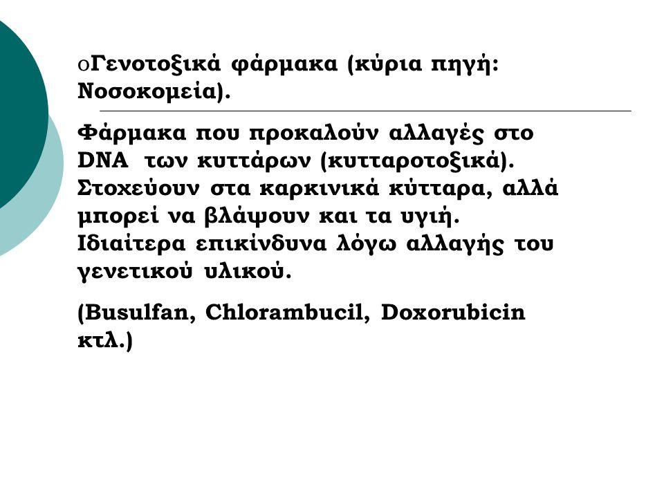 o Γενοτοξικά φάρμακα (κύρια πηγή: Νοσοκομεία). Φάρμακα που προκαλούν αλλαγές στο DNA των κυττάρων (κυτταροτοξικά). Στοχεύουν στα καρκινικά κύτταρα, αλ