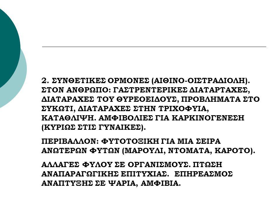 2. ΣΥΝΘΕΤΙΚΕΣ ΟΡΜΟΝΕΣ (ΑΙΘΙΝΟ-ΟΙΣΤΡΑΔΙΟΛΗ). ΣΤΟΝ ΑΝΘΡΩΠΟ: ΓΑΣΤΡΕΝΤΕΡΙΚΕΣ ΔΙΑΤΑΡΤΑΧΕΣ, ΔΙΑΤΑΡΑΧΕΣ ΤΟΥ ΘΥΡΕΟΕΙΔΟΥΣ, ΠΡΟΒΛΗΜΑΤΑ ΣΤΟ ΣΥΚΩΤΙ, ΔΙΑΤΑΡΑΧΕΣ ΣΤ