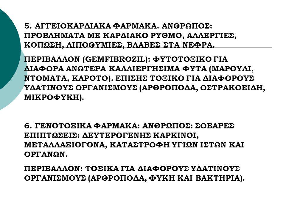 5. ΑΓΓΕΙΟΚΑΡΔΙΑΚΑ ΦΑΡΜΑΚΑ. ΑΝΘΡΩΠΟΣ: ΠΡΟΒΛΗΜΑΤΑ ΜΕ ΚΑΡΔΙΑΚΟ ΡΥΘΜΟ, ΑΛΛΕΡΓΙΕΣ, ΚΟΠΩΣΗ, ΛΙΠΟΘΥΜΙΕΣ, ΒΛΑΒΕΣ ΣΤΑ ΝΕΦΡΑ. ΠΕΡΙΒΑΛΛΟΝ (GEMFIBROZIL): ΦΥΤΟΤΟΞΙ
