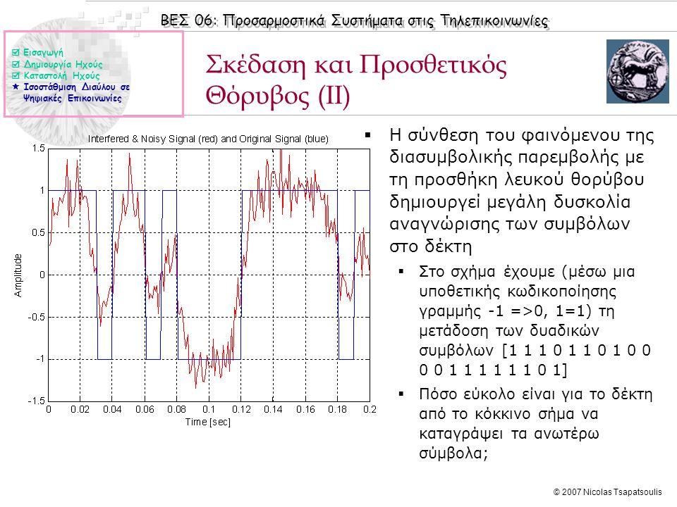 ΒΕΣ 06: Προσαρμοστικά Συστήματα στις Τηλεπικοινωνίες © 2007 Nicolas Tsapatsoulis Σκέδαση και Προσθετικός Θόρυβος (ΙΙ)  Η σύνθεση του φαινόμενου της διασυμβολικής παρεμβολής με τη προσθήκη λευκού θορύβου δημιουργεί μεγάλη δυσκολία αναγνώρισης των συμβόλων στο δέκτη  Στο σχήμα έχουμε (μέσω μια υποθετικής κωδικοποίησης γραμμής -1 =>0, 1=1) τη μετάδοση των δυαδικών συμβόλων [1 1 1 0 1 1 0 1 0 0 0 0 1 1 1 1 1 1 0 1]  Πόσο εύκολο είναι για το δέκτη από το κόκκινο σήμα να καταγράψει τα ανωτέρω σύμβολα;  Εισαγωγή  Δημιουργία Ηχούς  Καταστολή Ηχούς  Ισοστάθμιση Διαύλου σε Ψηφιακές Επικοινωνίες