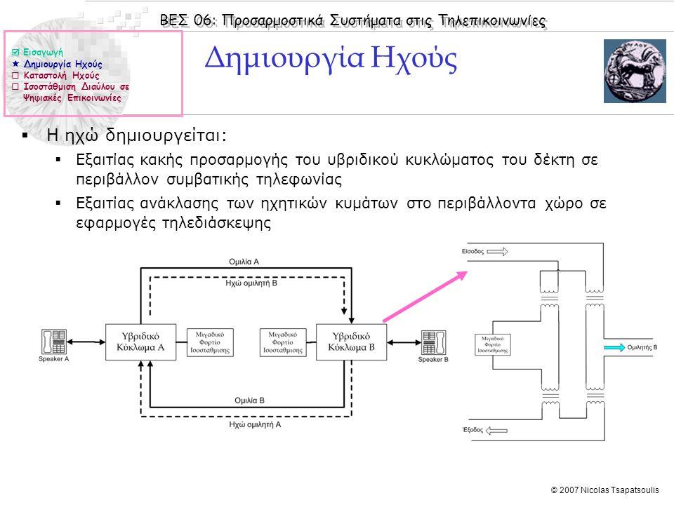 ΒΕΣ 06: Προσαρμοστικά Συστήματα στις Τηλεπικοινωνίες © 2007 Nicolas Tsapatsoulis Δημιουργία Ηχούς  Η ηχώ δημιουργείται:  Εξαιτίας κακής προσαρμογής του υβριδικού κυκλώματος του δέκτη σε περιβάλλον συμβατικής τηλεφωνίας  Εξαιτίας ανάκλασης των ηχητικών κυμάτων στο περιβάλλοντα χώρο σε εφαρμογές τηλεδιάσκεψης  Εισαγωγή  Δημιουργία Ηχούς  Καταστολή Ηχούς  Ισοστάθμιση Διαύλου σε Ψηφιακές Επικοινωνίες