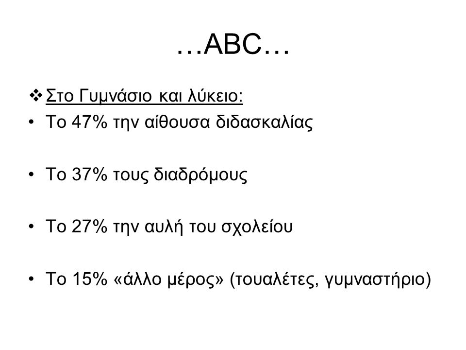 …ABC…  Στο Γυμνάσιο και λύκειο: To 47% την αίθουσα διδασκαλίας Το 37% τους διαδρόμους Το 27% την αυλή του σχολείου Το 15% «άλλο μέρος» (τουαλέτες, γυ
