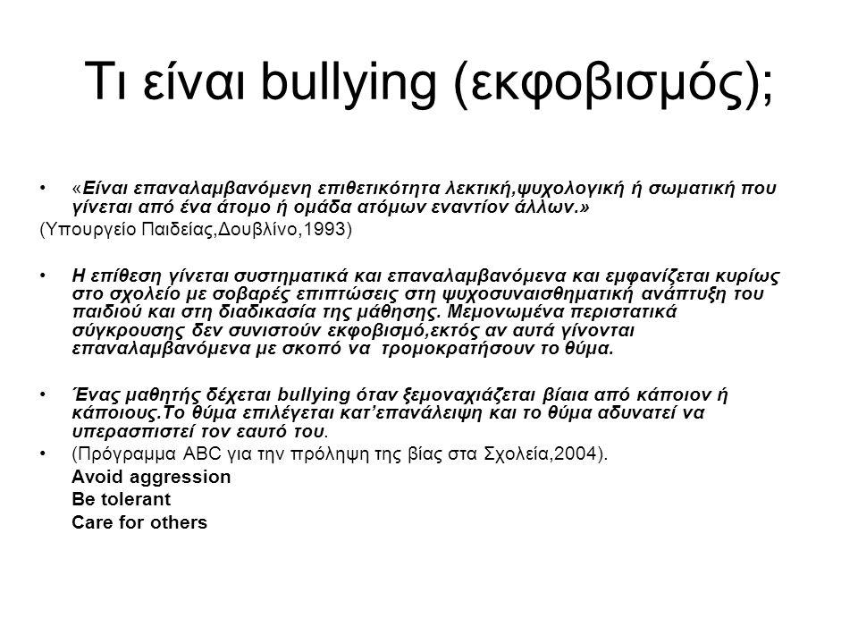 Τι είναι bullying (εκφοβισμός); «Είναι επαναλαμβανόμενη επιθετικότητα λεκτική,ψυχολογική ή σωματική που γίνεται από ένα άτομο ή ομάδα ατόμων εναντίον