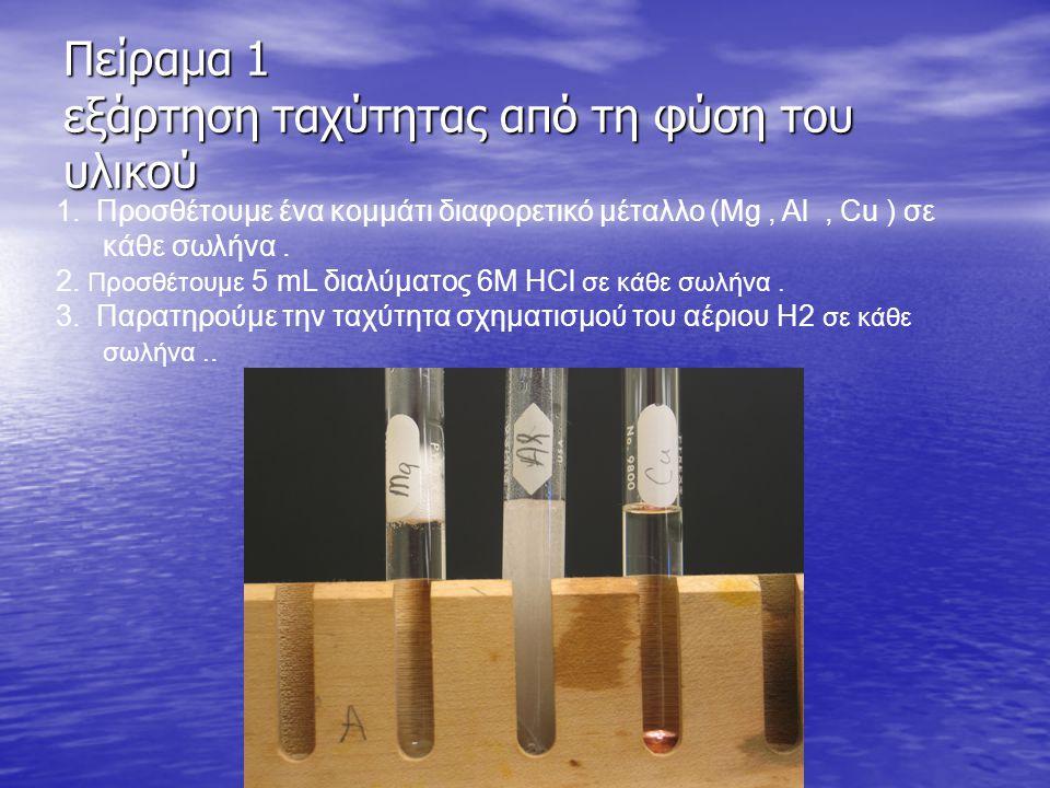 Πείραμα 1 εξάρτηση ταχύτητας από τη φύση του υλικού 1.