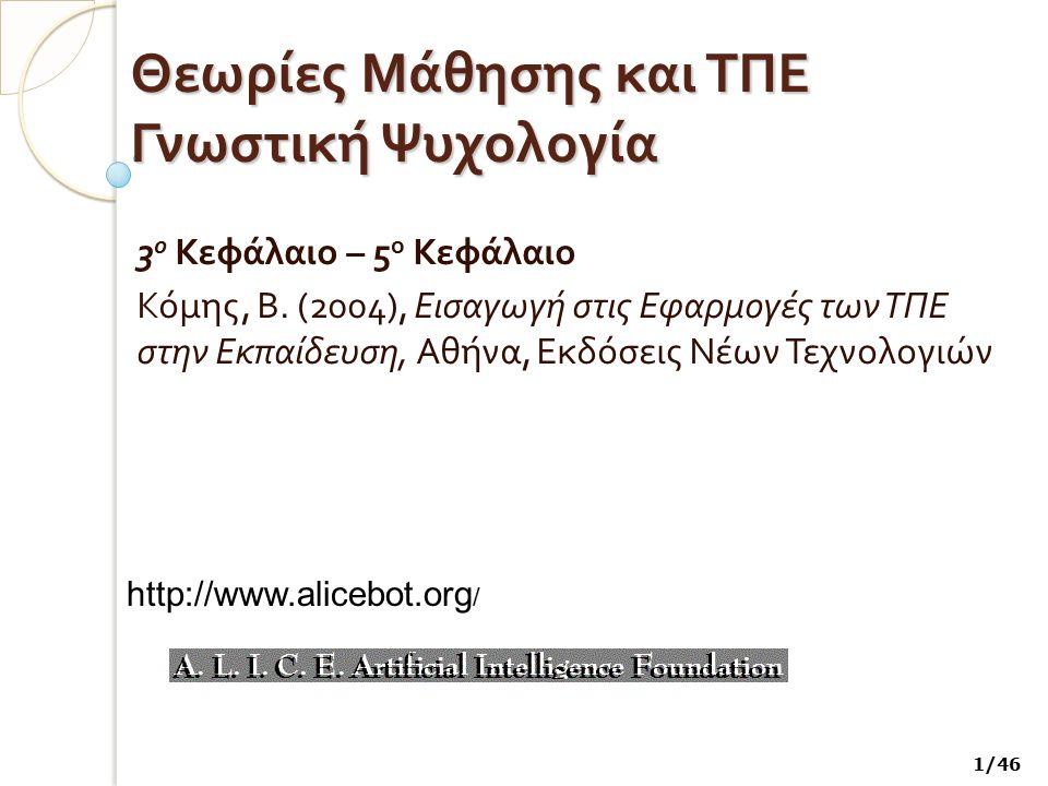 Θεωρίες Μάθησης και ΤΠΕ Γνωστική Ψυχολογία 3 ο Κεφάλαιο – 5 ο Κεφάλαιο Κόμης, Β. (2004), Εισαγωγή στις Εφαρμογές των ΤΠΕ στην Εκπαίδευση, Αθήνα, Εκδόσ