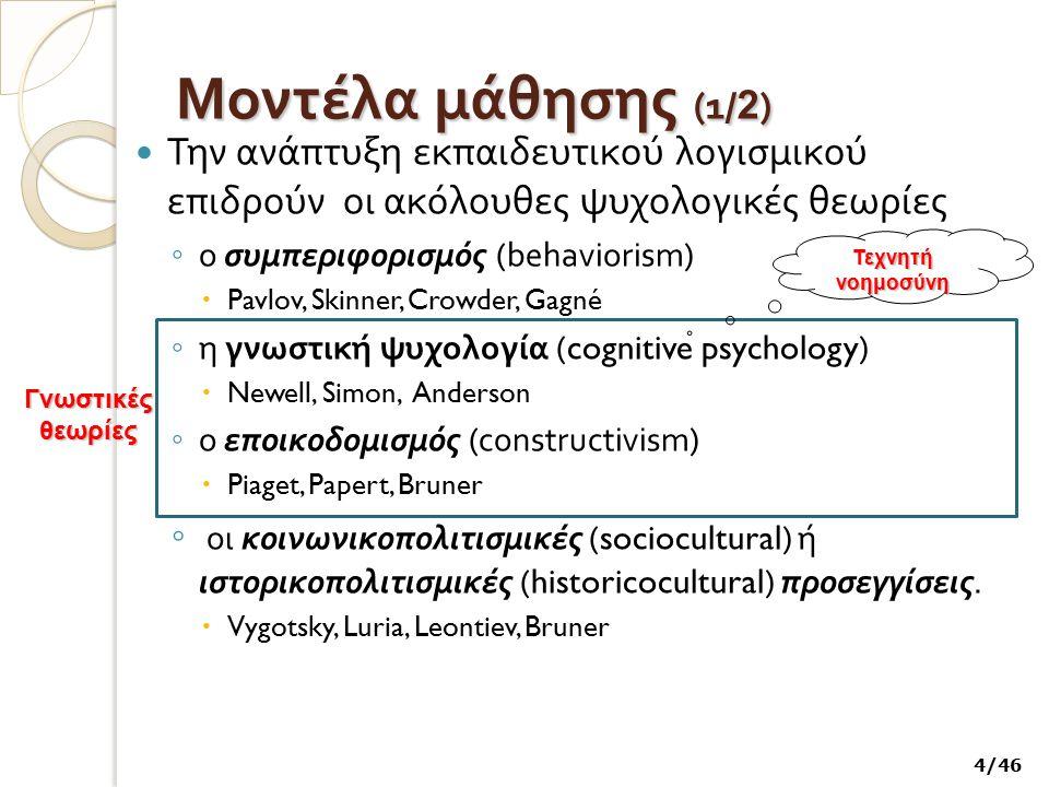 Μοντέλα μάθησης (1 / 2 ) Την ανάπτυξη εκπαιδευτικού λογισμικού επιδρούν οι ακόλουθες ψυχολογικές θεωρίες ◦ ο συμπεριφορισμός (behaviorism)  Pavlov, S