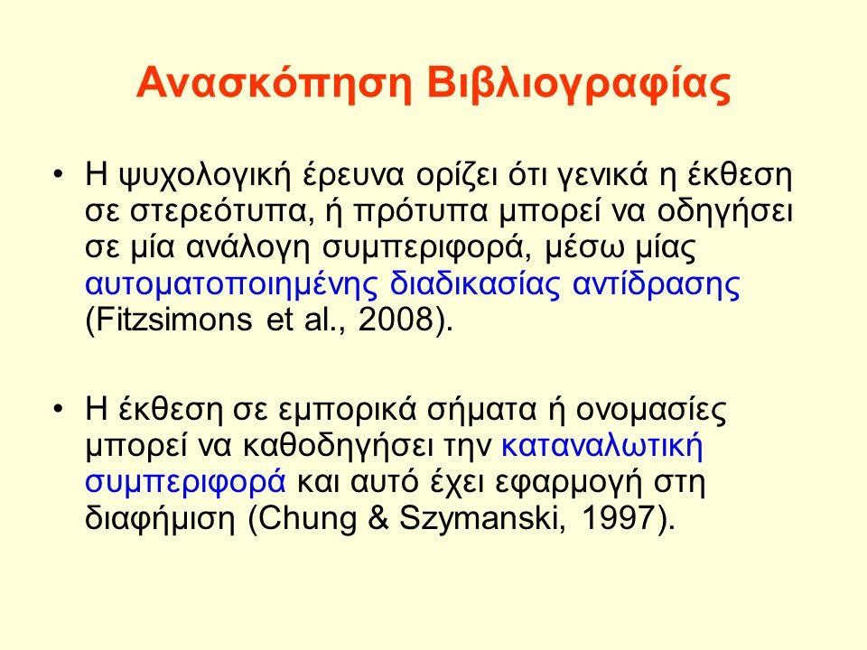 Ανασκόπηση Βιβλιογραφίας Η ψυχολογική έρευνα ορίζει ότι γενικά η έκθεση σε στερεότυπα, ή πρότυπα μπορεί να οδηγήσει σε μία ανάλογη συμπεριφορά, μέσω μίας αυτοματοποιημένης διαδικασίας αντίδρασης (Fitzsimons et al., 2008).