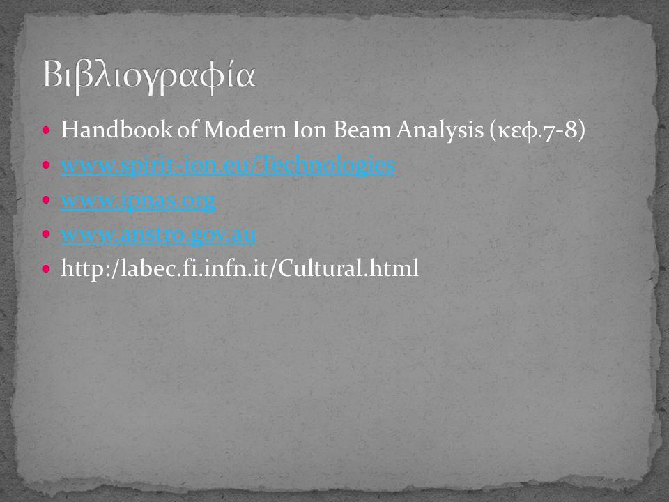 Handbook of Modern Ion Beam Analysis (κεφ.7-8) www.spirit-ion.eu/Technologies www.spirit-ion.eu/Technologies www.ipnas.org www.anstro.gov.au http:/labec.fi.infn.it/Cultural.html