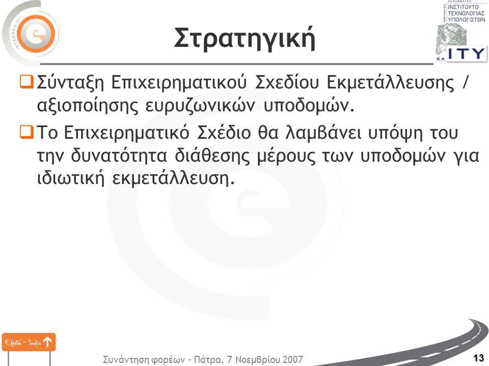 Συνάντηση φορέων - Πάτρα, 7 Νοεμβρίου 2007 13 Στρατηγική  Σύνταξη Επιχειρηματικού Σχεδίου Εκμετάλλευσης / αξιοποίησης ευρυζωνικών υποδομών.  Το Επιχ