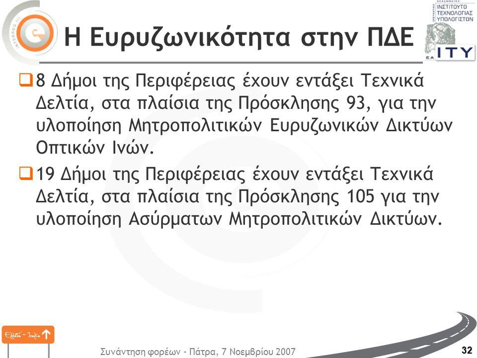 Συνάντηση φορέων - Πάτρα, 7 Νοεμβρίου 2007 32 Η Ευρυζωνικότητα στην ΠΔΕ  8 Δήμοι της Περιφέρειας έχουν εντάξει Τεχνικά Δελτία, στα πλαίσια της Πρόσκλ
