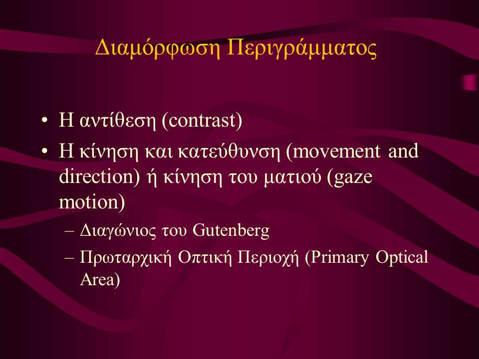 Διαμόρφωση Περιγράμματος Η αντίθεση (contrast) Η κίνηση και κατεύθυνση (movement and direction) ή κίνηση του ματιού (gaze motion) –Διαγώνιος του Gutenberg –Πρωταρχική Οπτική Περιοχή (Primary Optical Area)