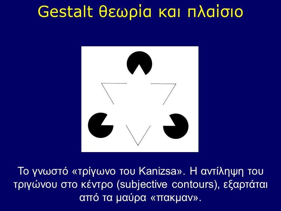 Gestalt θεωρία και πλαίσιο Το γνωστό «τρίγωνο του Kanizsa». Η αντίληψη του τριγώνου στο κέντρο (subjective contours), εξαρτάται από τα μαύρα «πακμαν».