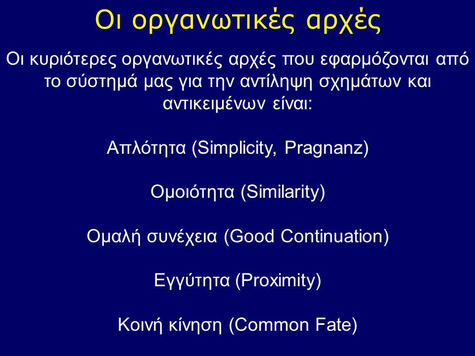 Οι οργανωτικές αρχές Οι κυριότερες οργανωτικές αρχές που εφαρμόζονται από το σύστημά μας για την αντίληψη σχημάτων και αντικειμένων είναι: Απλότητα (S